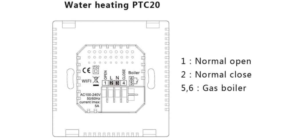 zadnja stran termostata ptc20 1